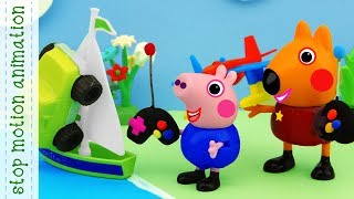 Airplane, car, boat.  Peppa pig toys stop motion animation english episodes 2018
