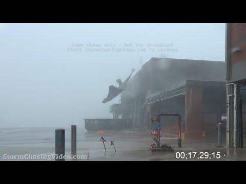 Hurricane Delta, Cameron Parish, LA, Creole, LA - HD Stock Footage - 10/9/2020