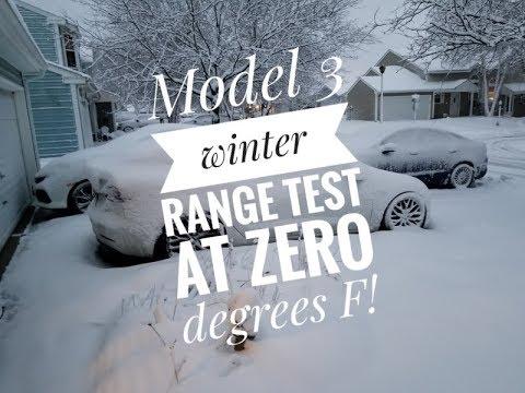 Testing Tesla Model 3 range in cold weather (Zero F -18C)