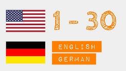 Zahlen von 1 bis 30 auf  - Englisch - Deutsch