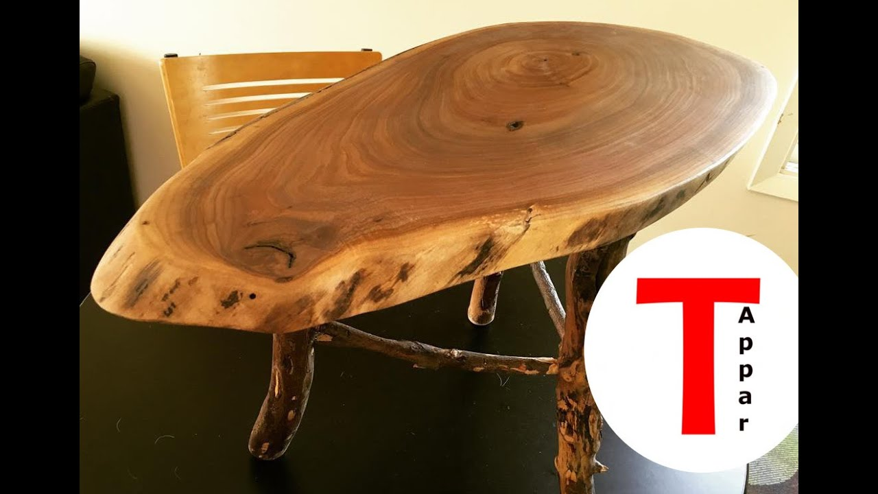 Rustic Live Edge Walnut Coffee/End Table With Applewood Legs   YouTube