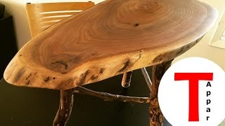Rustic Live Edge Walnut Coffee/End Table with Applewood Legs