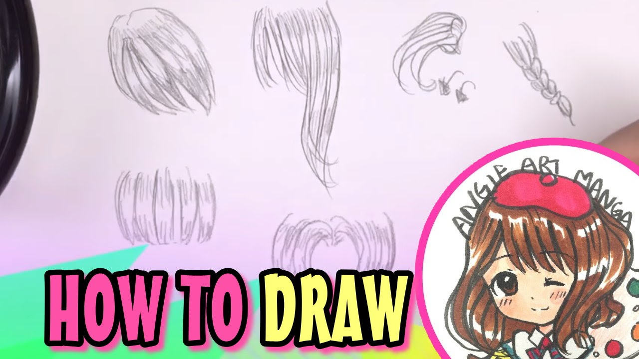 How to draw manga girl hair easy simple slow and draw in real time for beginners