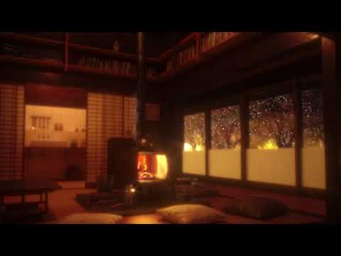 Cozy Sound/Snowy Japanese Wooden House Ambience/Firewood/Wind
