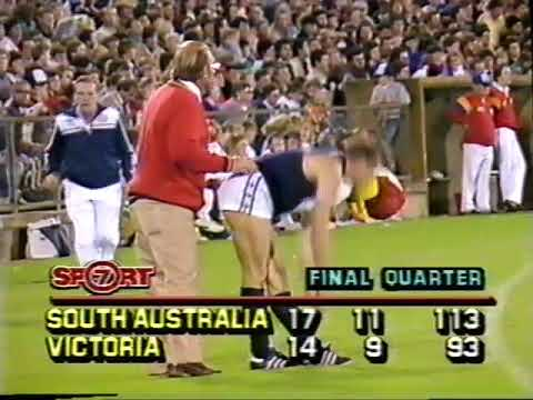 1986 South Australia Vs Victoria at Football park footage starts from the 22 minute mark of the 3rd
