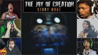 Gamers Reactions to the First Jumpscare ft. Animatronics | The Joy Of Creation: Story Mode