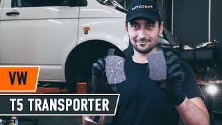 Como substituir pastilhas de travão parte dianteira noVW T5 TRANSPORTER Van [TUTORIAL AUTODOC]