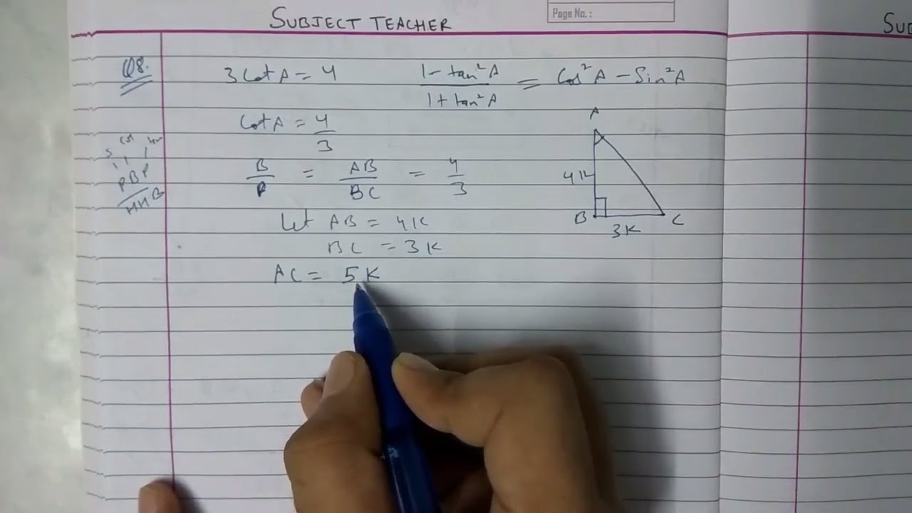 Chapter 8 TRIGONOMETRY Exercise 8 1 (part 2) maths class 10 NCERT in  English or Hindi || Math tutor