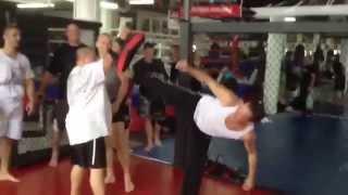 Van Damme Karate kick demo with Georges St-Pierre (HD)