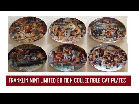 SIX FRANKLIN MINT LIMITED EDITION COLLECTIBLE CAT PLATES & What It Is Worth