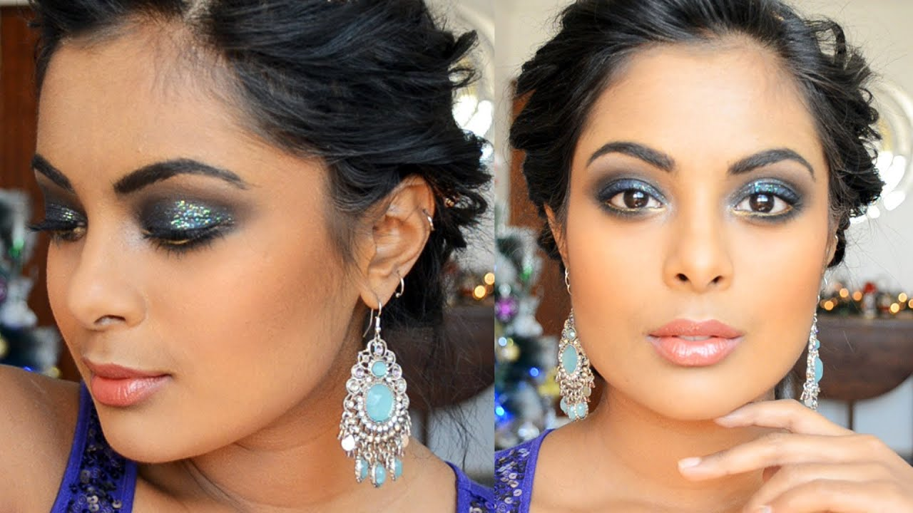Party Makeup for Brown Skin - Glitter Blue Smokey Eyes ...