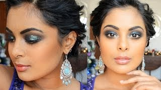 Party Makeup for Brown Skin - Glitter Blue Smokey Eyes
