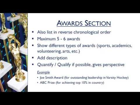 5 Minute Resume Writing Tips - Chapter 7: Awards