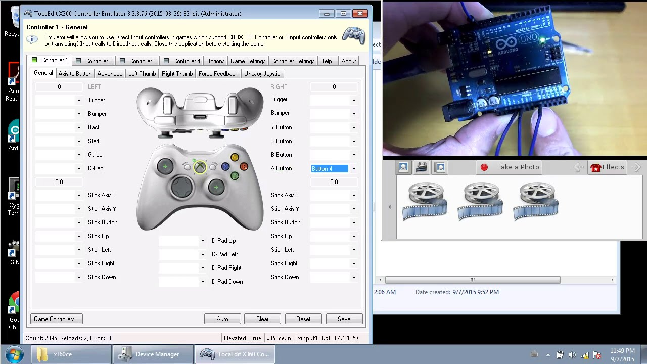 Arduino UnoJoy gamepad (Windows, XBox emulation)