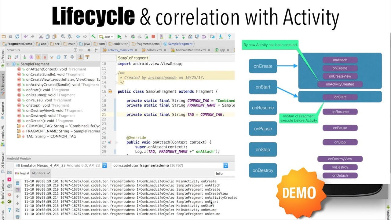 Fragments - Part 4, Lifecycle & correlation with Activity