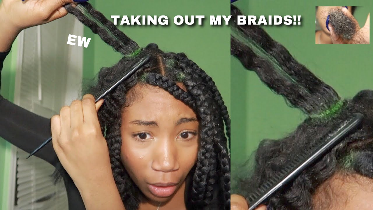 Taking Out My Box Braids Gross New Growth �� Youtube