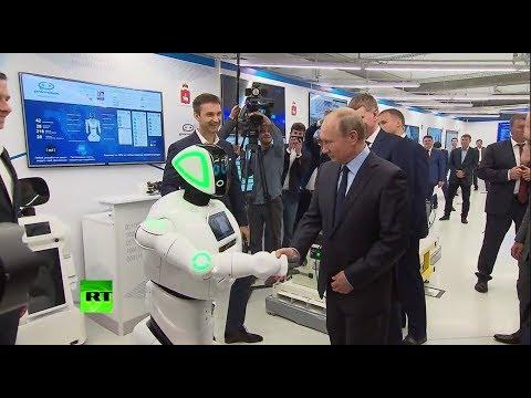 «Здравствуйте, Владимир Владимирович»: андроид поздоровался с Путиным на выставке в Перми