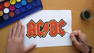 How to draw the AC/DC logo (Drawing famous logos)