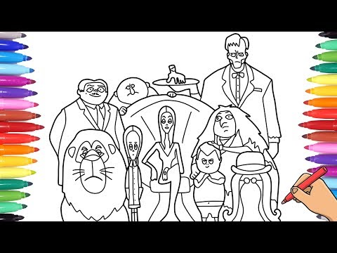 THE ADDAMS FAMILY 2019 MOVIE - COLORING ALL ADDAMS FAMILY CHARACTERS - ADDAMS FAMILY COLORING PAGES
