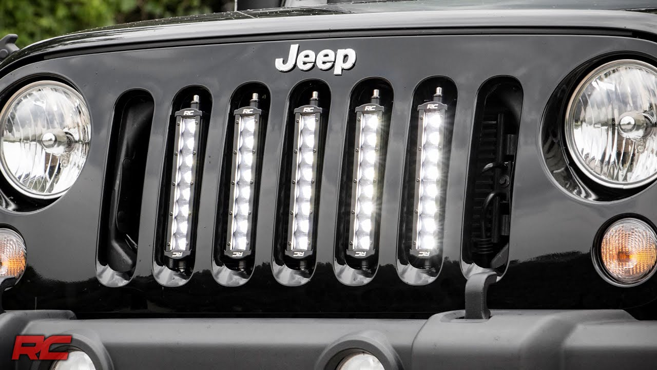 installing 2007 2017 jeep wrangler jk vertical 8 inch led light bar grille mount by rough country [ 1280 x 720 Pixel ]