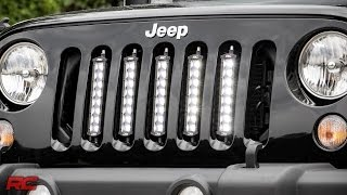 installing 2007 2016 jeep wrangler jk vertical 8 inch led light bar grille mount by rough country