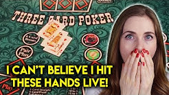 TRIPS AND A STRAIGHT FLUSH!! CRAZY RUN!! EPIC Three Card Poker Livestream!!