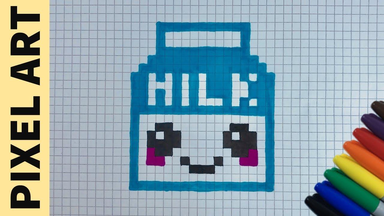 Come Disegnare Una Busta Di Latte Kawaii Pixel Art How To Draw Milk Pixelart