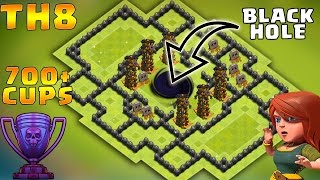"Town Hall 8 Troll/Trophy Base - ""Black Hole"" 700 Cups Won in 2 days 