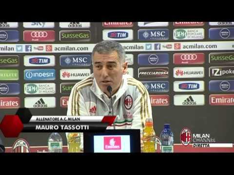 AC Milan   Tassotti: 'Con lo Spezia giocherà Pazzini' (with subtitles)