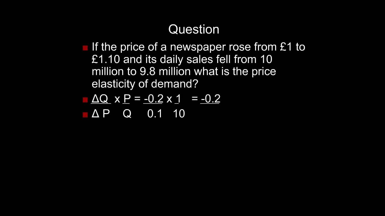 Point And Arc Price Elasticity Of Demand Youtube
