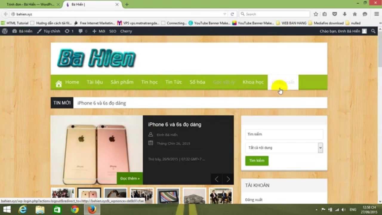 Đinh Bá Hiển – Cách chèn icon vào menu wordpress – http://bahien.xyz