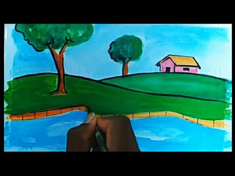 how to Draw nature drawing landscape painting for children's YouTube summer camp videos
