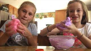 Teaching my friend how to make slime!!!!