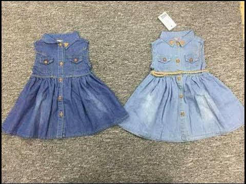 3178cf245f92f خطوات عمل فستان طفله بسيط جينز للعيد للاطفال (الجزء الاول) - YouTube