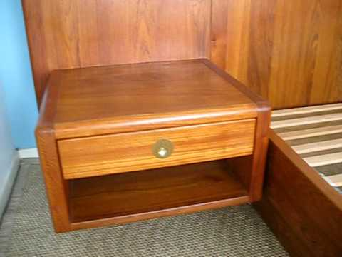 Danish Modern Teak King Size Bed W Floating Nightstands