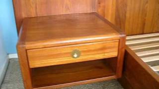 Danish Modern Teak King Size Bed W/ Floating Nightstands