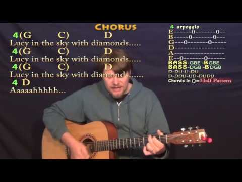 Lucy In the Sky With Diamonds (The Beatles) Guitar Cover Lesson with Chords/Lyrics
