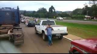 Motoristas voltando de Brasília e sendo recebidos na cidade de Pitanga/PR