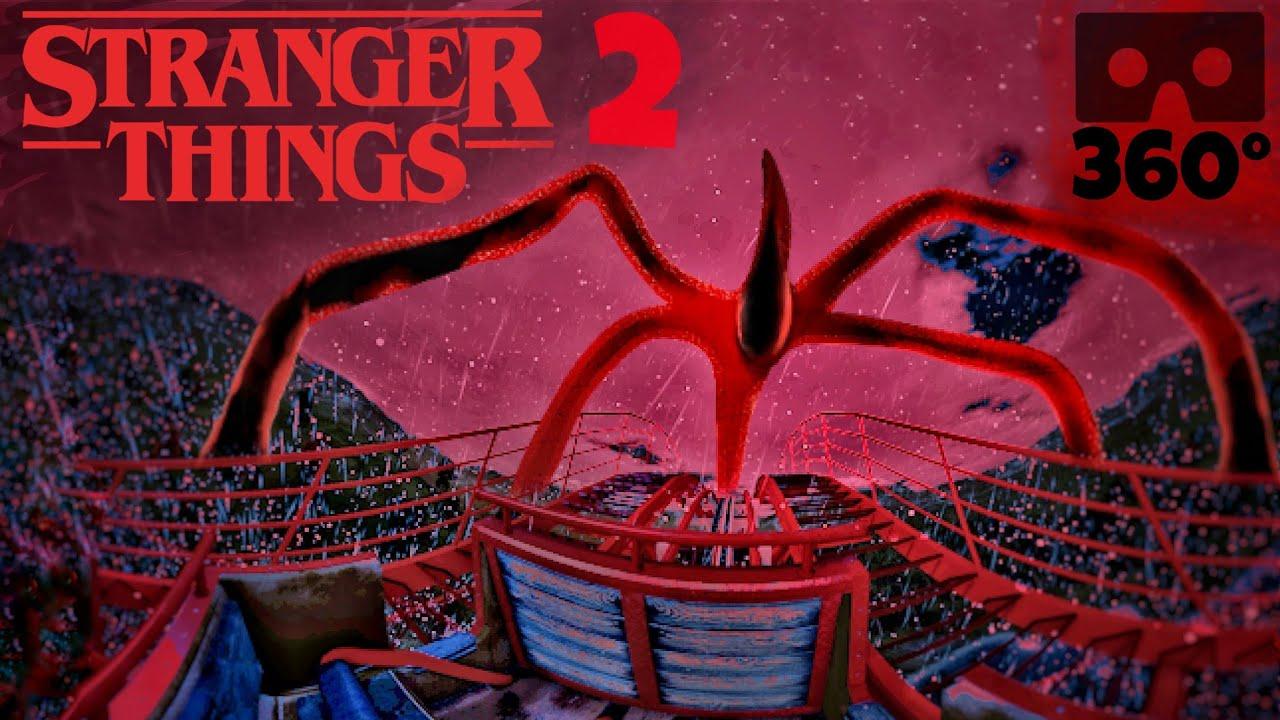 360° Stranger Things 2 Rollercoaster Mind Flayer Demogorgon Netflix VR Ride POV 360도 롤러코스터 ジェットコースター