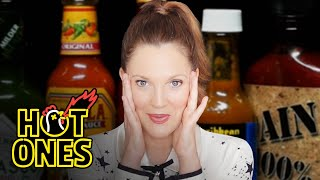 Drew Barrymore Has a Hard Time Processing While Eating Hot Wings | Hot Ones
