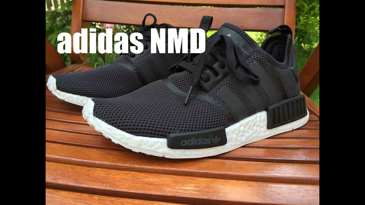 100% authentic a2214 b5b1d Adidas NMD R1 Core Black (Monochrome Pack) - Unboxing   On Feet HD Close Up