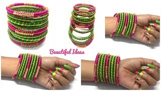 DIY//How to Make Silk thread Designer Bangles/ Silk thread Bangles Making at Home/Bridal Bangles.