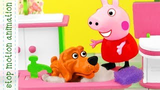 Dirty Puppy. Peppa pig toys stop motion animation english episodes 2018