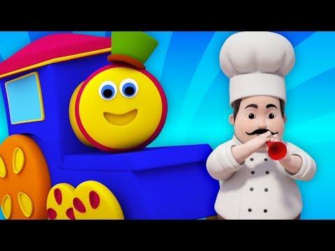Bob il treno | l'uomo focaccina | canzoni per bambini | cibo canzone | Bob Train Muffin Man