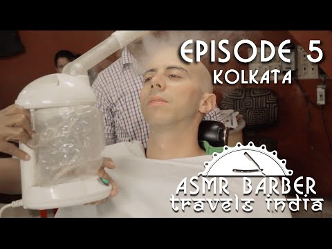 Indian Face Massage with steam and thread in Kolkata Barber Shop - ASMR no talking