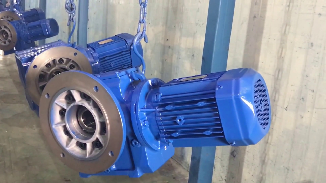 SAF series helical worm gear motor with flange and hollow shaft