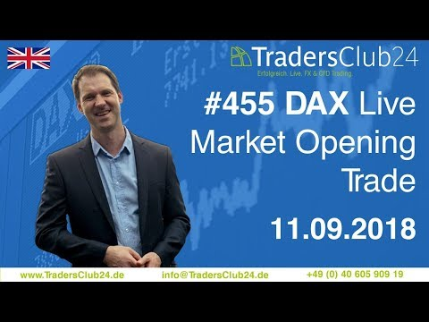 TradersClub24 Dax Open Range Breakout Live Trade 11th September 2018 (Daytrading / Forex / Dax)