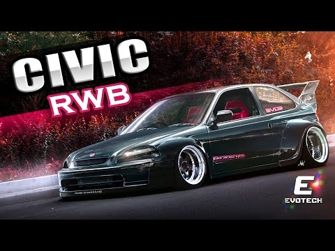 Honda Civic RWB VIRTUAL TUNING Photoshop Render Evo5 Rauh Welt Begriff Widebody...