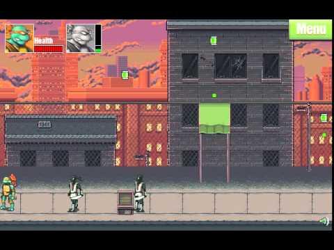 Онлайн игра : Черепашки Ниндзя наносят двойной удар